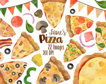 Watercolor Pizza Clipart - Dinner Download - Instant Download - Pizza Night - Party Food - Planner Supplies