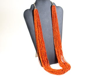 Vintage 80s multiple string beaded necklace, orange coral beaded necklace