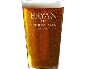 Groomsmen Pint Glass, Personalized Beer Glass, Custom Pint Glass, Wedding Party Gifts, Groomsmen Gift, Best Man Gift