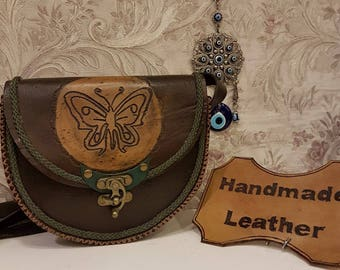 Brown, Turquoise, Leather, Crossbody, The Butterfly Dream Code:111