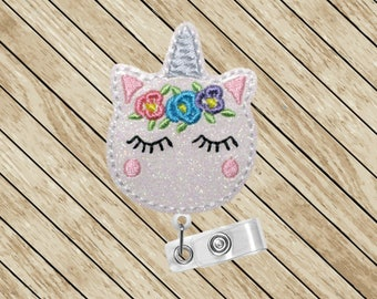 Unicorn Macaroon Badge Reel, ID Holder, Badge Clip, Retractable Badge Holder, Badge Lanyard, Carabiner, Badge Reel, Cute Badge Reel