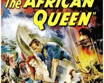 The African Queen Humphrey Bogart Katharine Hepburn Movie Rare Vintage Poster