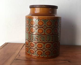 Vintage Retro Hornsea Brown Biscuit Barrel Jar
