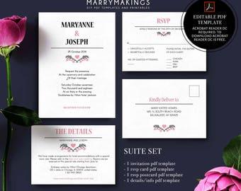 suite template, wedding ceremony, downloadable, initials, pocketfold invite, pocket invitations, weddings, rsvp card, watercolor invite, 22