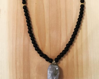 Black Silver Pendant Necklace