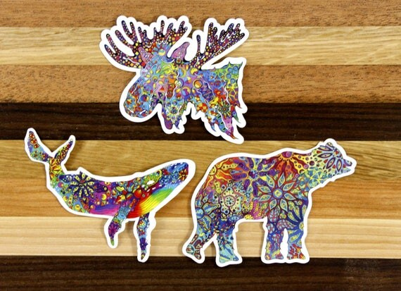 Alaskan Wildlife Trio - Vinyl Sticker Pack