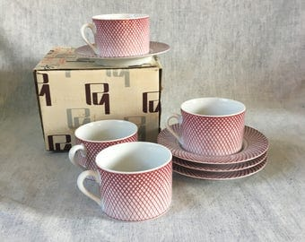 Vintage Haldon Group Devonshire Coffee Cups and Saucers, Set of 4, Red Lattice Mugs