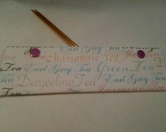 Tea needle cozy, Tea words knitters  helper