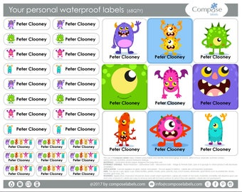 Monster - Your personal waterproof labels (68 Qty) Free Shipping