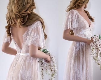 Lace Wedding Dress/ Unique Wedding Dress/ Boho Wedding Dress/ Wedding Dress with sleeves/ Beach Wedding Dress/ Open back dress