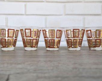 Set of 5 Mid Century Shot Glasses, MidCentury Shot, Retro Shot Glasses, Mid Century Barware, Autumn Shot Glasses
