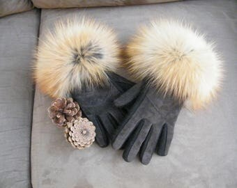 Red fox trimmed gloves, fur trimmed gloves, suede gloves with fur trim, ladies winter gloves,brown gloves