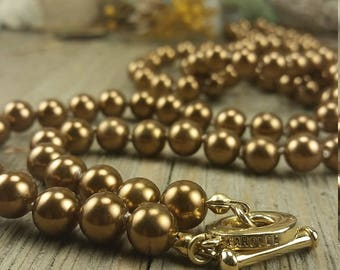 Vintage Carolee Dark Gold Faux Pearl Necklace