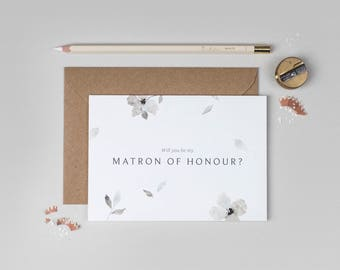 Will you be my Matron of Honour Card/Eloise Matron of Honour Card/Floral Matron of Honour Card/Watercolour Matron of Honour Card