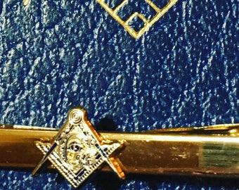 """Masonic 2"""" Gold Tie Clip"""