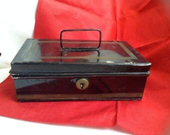 Small Old Black and Gold Metal Cash Box
