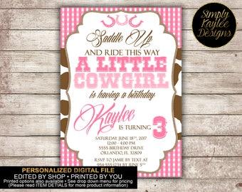 Cowgirl Birthday Birthday Party Invitation