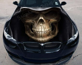 Vinyl Car Hood Full Color Wrap Graphics Decal Death Face Skull Sticker