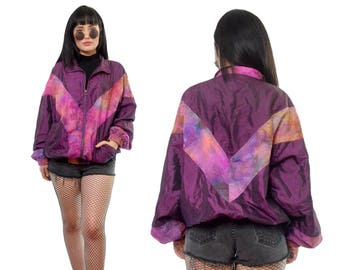 vintage 90s purple tie dye windbreaker jacket CUTE new wave bomber jacket kawaii cyber grunge pastel grunge medium