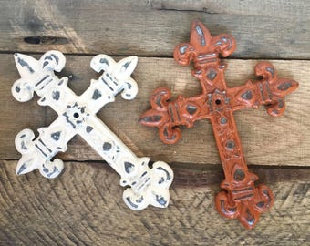 Fleur de Lis Cross - Christian Wall Art - Gallery Wall Decor - Cast Iron Wall Cross - Decorative Crosses - Christian Gifts - Metal Cross