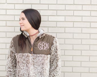 Monogrammed Sherpa pullover quarterzip TREND! Soft and warm monogram sherpa