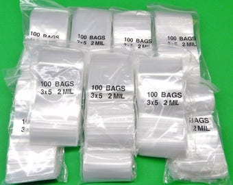 """1000 3x5 Ziplock Bags Reclosable 2 Mil Clear Poly 3"""" X 5"""" Baggies 1,000 Pieces (3.6 FRLE)"""