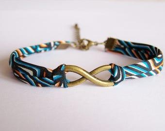 Infinity bracelet liberty turquoise, black and orange tones
