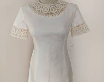 Handmade Vintage 1960's Wedding gown Ivory with Detachable train V-002