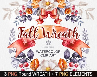FALL WREATH watercolor Clip Art. Autumn, Thanksgiving, frame, ribbon, floral, nature, rustic, botanical, wedding flowers. Read about usage