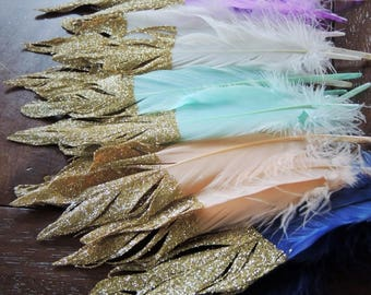 Feather Garland or Single Feathers Gold Glitter Dipped Feathers Boho Party Decor Wild One Tribal Princess Baby Shower Nursery Decor Backdrop