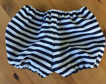 Navy and White Striped Diaper Cover/Bloomers (Newborn, Infant, Toddler, Photo Prop)