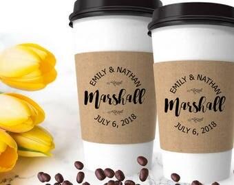 Wedding Coffee Sleeves Stamp - Coffee Wedding Favor - Coffee Cup Sleeve Stamp - Bridal Shower Custom Coffee Favor - Personalized Coffee Cup