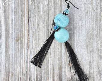Turquoise Tassel Earrings | Black Tassel Earrings | Simple Earrings | Modern Earrings | Dangle Earrings