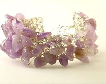 Amethyst Silver Wire Crocheted Bracelet, Light Purple Amethyst Bangle, Leaf Toggle Clasp and Amethyst Sterling Silver Bracelet