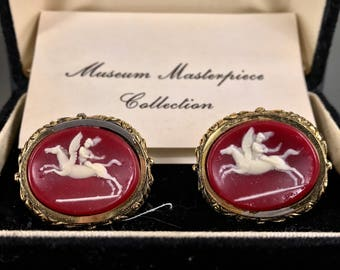 Vintage Cameo Cufflinks Set by Dante, Crimson Red Incolay & Gold, Oval, Museum Masterpiece Collection - Little Caesar, Greek, Roman, Box