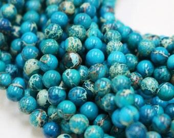 8mm beads, impression jasper, dark blue beads, round beads, glossy beads, earthy beads, boho beads,