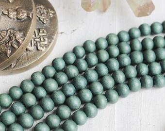 6mm beads, teal gray beads, wood beads, rustic beads, earthy beads, boho beads, natural beads, full strand
