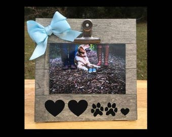 And Then there were Four - Pregnancy Announcement Dog Sibling Pawprints and Hearts picture clip frame. We're expecting pregnant ultrasound