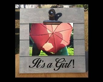 It's a Girl! - Pregnancy Announcement Gender Reveal clip frame. We're expecting twins/triplets/baby surprise gift pregnant ultrasound