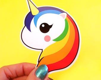 Rainbow unicorn vinyl decal | Unicorn vinyl sticker | Unicorn gifts | Unicorn present | Vinyl Decal laptop | Snowboard Decal kawaii gift |