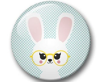 Bunny badge 32mm | Cute bunny pin back button | kawaii pin badge  | kids party | Gift Party Favor | bunny Accessory