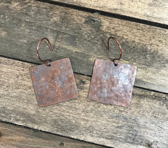 Rustic copper square earrings-hand hammered