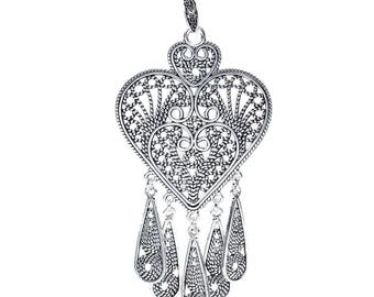 Bold Bohemian Heart Pendant with Teardrop Dangles - One Piece
