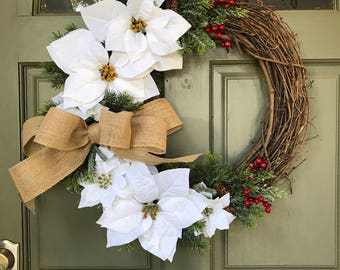 Customized Monogram Holiday Christmas Door Wreath w/ white or red poinsettia & frosted pine evergreens, holiday decor