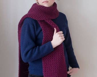 100% virgin wool Chunky Plum purple Knit Scarf with pompoms, long winter scarf.