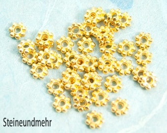 10 x gold plated spacer flower 5, 5mm #3414