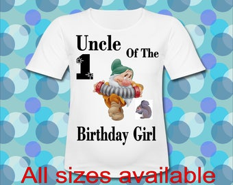 Easy Iron On Transfer Paper Any Saying Uncle of the Birthday Girl Bashful Dwarf T shirt Transfer Three Sizes Paper Transfer Decal