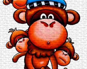 Cute Monkeys Digital Stamp by Sasayaki Glitter