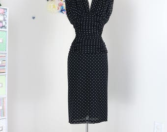 80s Does 1940s Dress - Black Polka Dot Designer Wayne Clark Dress - Plunging Neckline - Gathered Ruched Waist - Open Back - Sexy Vintage S/M