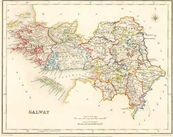 County Galway Ireland - 1837 - Antique Irish Map - FREE WORLDWIDE SHIPPING